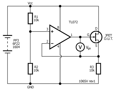 Testing and matching jfets stompville r1 and r2 form a potential divider that fixes the op amps non inverting input at 12 vcc the jfet and r3 also form a variable potential divider ccuart Choice Image