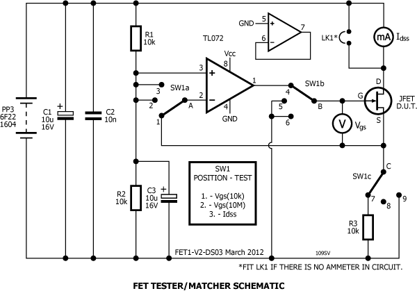 Testing and matching jfets stompville jfet matchertester schematic ccuart Choice Image