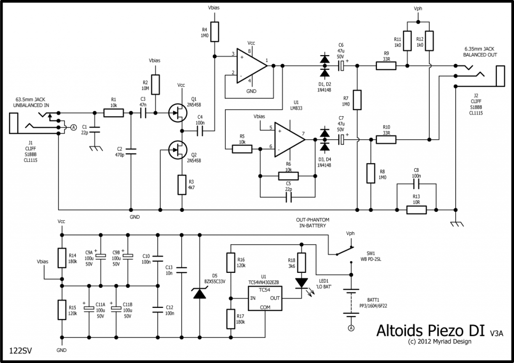 Altoids Piezo DI revised schematic