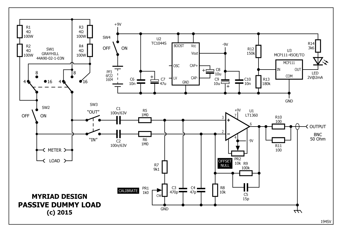 Passive Dummy Load Project Stompville Circuit Constant Current Schema C1 And C2 Set The Low Frequency Roll Off At Less Than 1hz If You Reduce To 10nf 3db Point Will Increase 16hz Or So